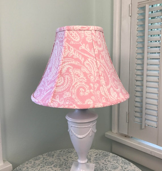 Pink lamp shade pink paisley lamp shade nursery lamp shade aloadofball Gallery
