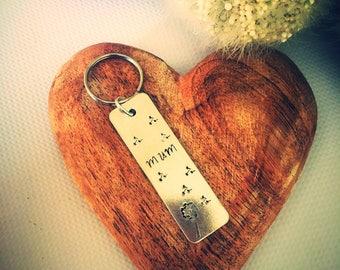 Mum Keyring - Mum Keychain - Gift for Mum - Bag Charm - Personalised Keyring - Silver Keyring - Dandilion and fluff - Nana Keyring