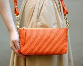 30%OFF&Free shipping! Orange bag, leather bag, shoulder bag, orange crossbody, small bag, leather crossbody, everyday bag, casual bag