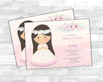 Invitación Primera Comunión de Niña. First Communion Invitation for girl. Pink, white, gray baptism or first communion. Floral Watercolor.