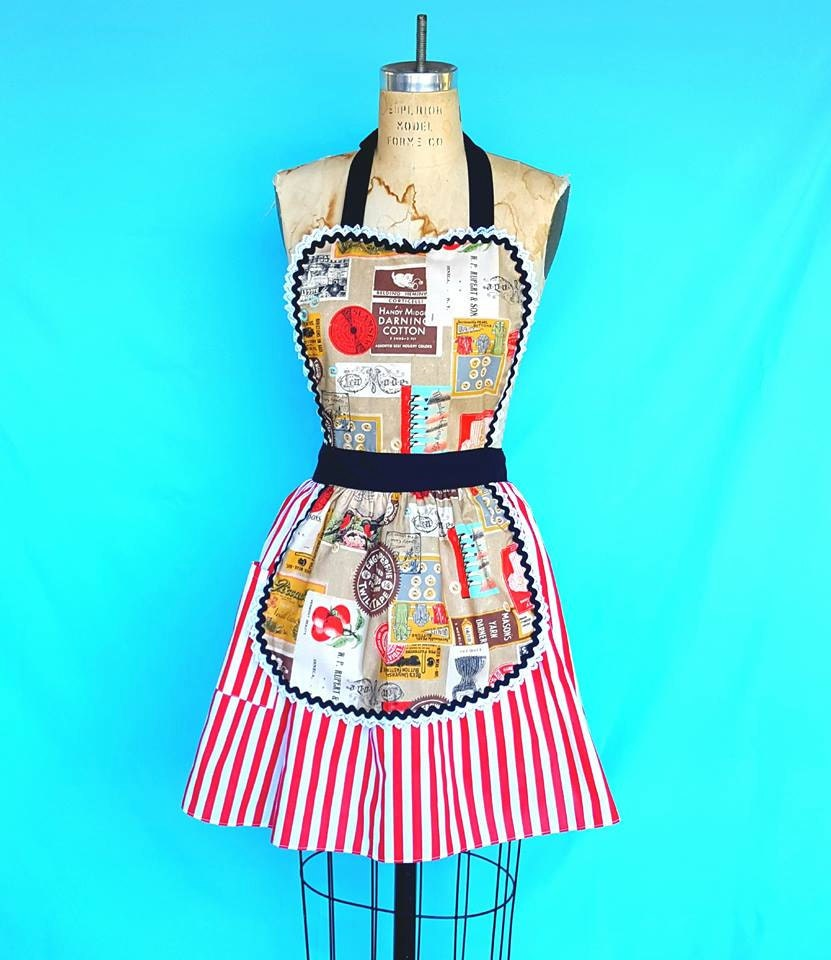 RETRO APRON Vintage Label print red striped skirthostess