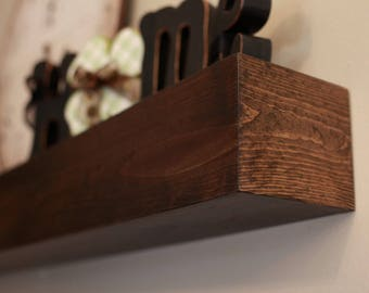 "Fireplace Mantel Wood Wall Shelf - Beam Style in lengths of 36"" 48"" 60"" 72"" and 84""- Fireplace Mantle"