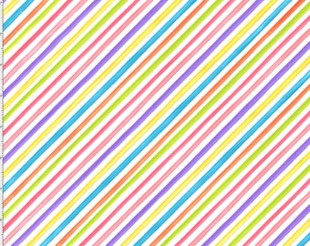 Loralie Designs, Bias Stripe, Bright colors on White Fabric