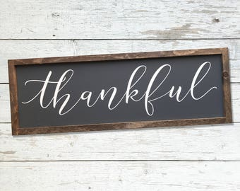 Thankful 28x10 MORE COLORS / hand painted / wood sign / farmhouse style / rustic