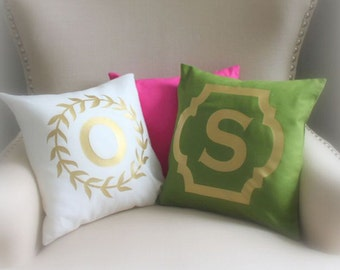 Monogram Metallic Throw Pillow Custom Cover | CHOOSE Borders, Pillow Cover, Foil, Green ivory hot pink monogram pillow wedding name, baby