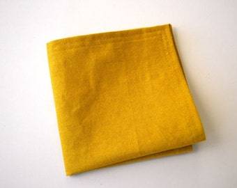 Pocket Square in Mustard Yellow Linen