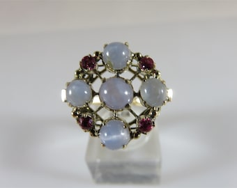 10K Yellow Gold Gray Milky White Natural Star Sapphire & Pink Topaz Ring Size 7