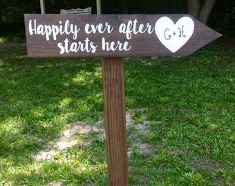 Happily ever after starts here wedding directional sign with post, rustic wedding sign, personalized wedding sign