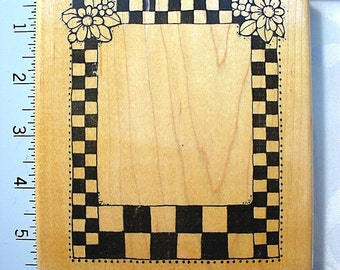 DOTS LG Checkered Floral Border Frame DESTASH Rubber Stamp, Rare used rubber stamp