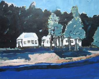Cottage Blue, Original Landscape Painting on Paper