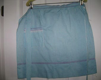 Vintage Turquoise and White Check Apron, Vintage Check Apron, Turquoise Vintage Apron