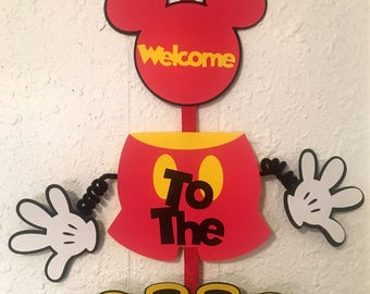 Mickey Mouse fun party door hanger, Mickey party, Disney birthday