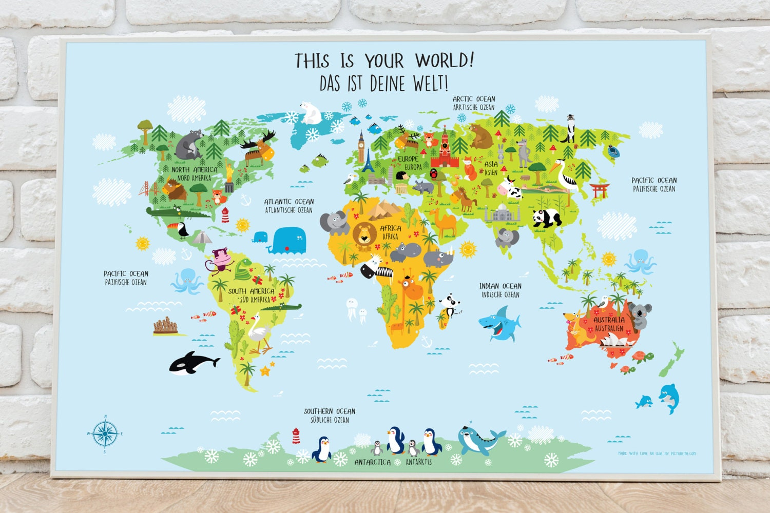 World map poster in german unique baby gifts nursery world zoom gumiabroncs Choice Image