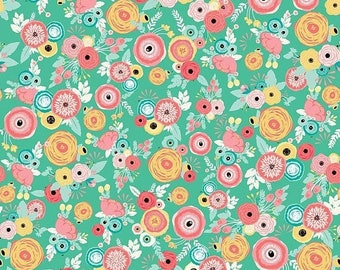 ON SALE Riley Blake Designs Just Sayin' by My Mind's Eye Floral Mint