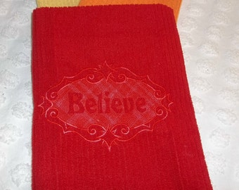 BELIEVE Raised Design Embroidered Embossed Kitchen Dish Towel Tea Towel or Bath Hand Guest Towel Choose Your Color