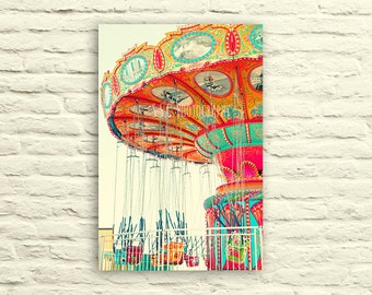 Carnival photography. Swings. canvas wall art. orange. mint blue. pink. nursery decor. santa cruz. bright art. colorful. vibrant. whimsical