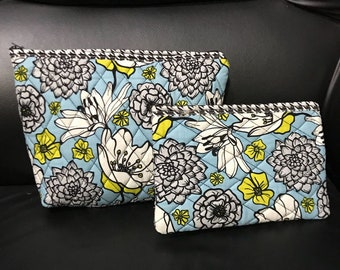 All Purpose 2 Pouch Set - Floral Print - Houndstooth Back Side
