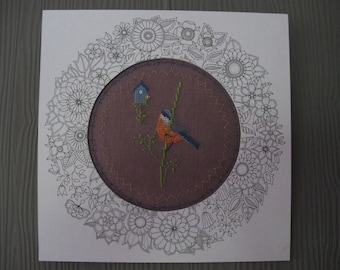 Little bird embroidered cross stitch chart