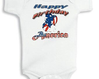 Happy Birthday America personalized baby bodysuit