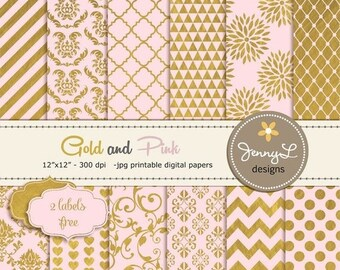 50% OFF Pink and Gold Digital Papers, Gold Digital Scrapbooking Papers, Pink and Gold, Damask Digital Paper, Dahlia Digital Paper