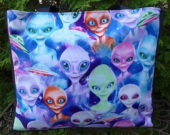 Alien Tasche Stricken Tasche, Alien Augen, die mittlere Breite Fleur