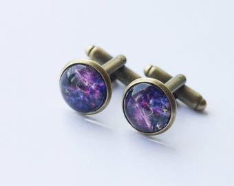 Galaxy Cufflinks, Space Cufflinks, Groomsmen Gifts, Cosmos Cufflinks, Night Sky Cufflinks, Star Cufflinks, Space Gifts, Gifts for Dads