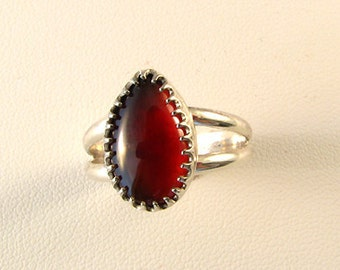 Simple Sterling Red Garnet Ring handmade sz 7 1/2, January birthstone