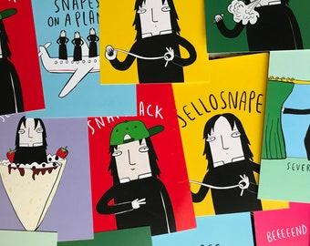 Severus Snape Illustrated Postcard Pack - 7 Pack - Pun Postcards - Harry Potter Postcards