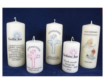 Personalised Godmother & Godfather candles, Baptism Candle, Christening Candle, Baptism, Christening, Personalised Candle, Religious candle