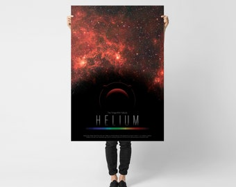 Helium and Dragonfish Nebula // Elementum Astronomicon: Infographic Print with Periodic Table of Element Design and Astronomic Phenomena