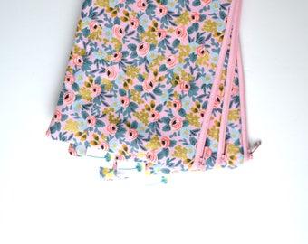 Pink Zipper Pouch, Rifle Paper Zip Bag, Floral Makeup Bag, Bridesmaid Gift for Teen Girl, Rosa Floral Zipper Bag Purse Organizer Small Pouch