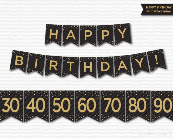 Happy birthday banner printable 30th 40th 50th 60th 70th publicscrutiny Image collections