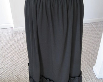 SALE Vintage 1960's Ruffled Black Skirt with Elastic Waist Band