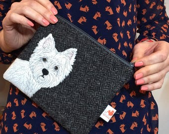 Westie dog purse - Scottie dog zip pouch - grey Harris Tweed purse - Westie gift - cosmetic pouch - westie embroidery purse - tweed purse -