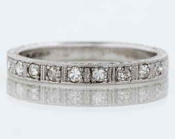 Antique Wedding Band - Antique Platinum Floral Engraved Diamond Wedding Band