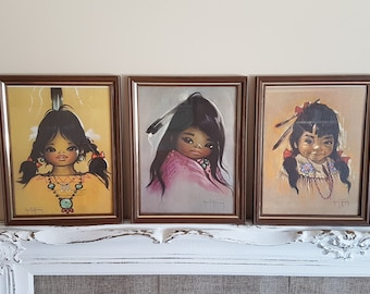 Vintage Set of 3 Framed Gerda Christoffersen Native North American Girls, Art Print