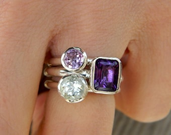 Three Amethyst Stacking Set, Grape Purple, Lavender and Mint Green Gemstone Rings In Sterling Silver