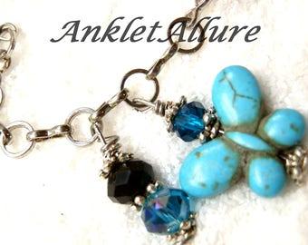 Anklet Ankle Bracelet Butterfly Ankle Bracelet Chain Anklet Silver Anklets for Women