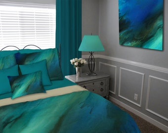 Duvet cover, Cobalt blue brown, Teal aqua turquoise, Abstract Bedding set, Queen Full King Twin, Master Bedroom decor, Contemporary, Modern