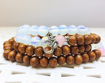 108 Mala, Yoga Necklace, Mala mantra beads, Yoga jewelry, Moonstone mala, Wood mala, 108 beaded mala, 3d mala,Prayer Beads, Meditation Beads