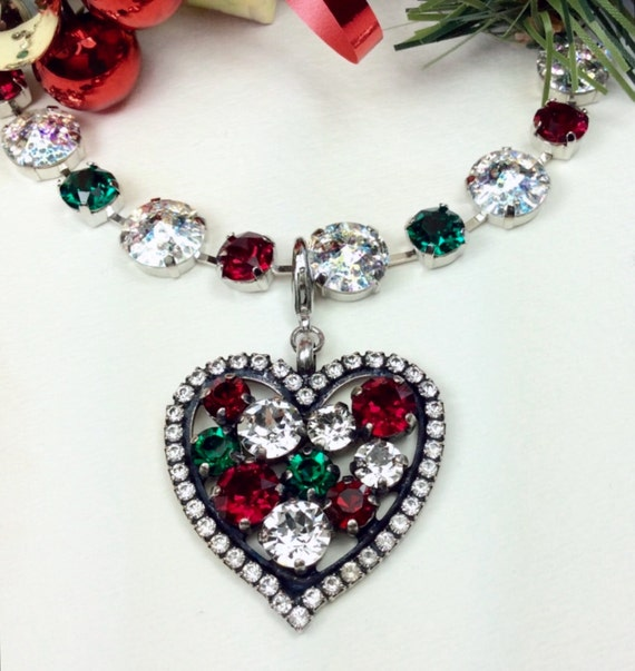 Swarovski Crystal - Designer Inspired - Heart Shaped Pendant Charm  - Beautiful Radiant Christmas Colors