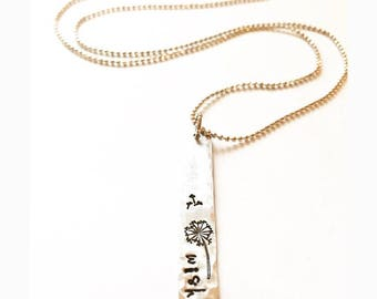 Wish - Rustic Hand Stamped Dandelion on Silver Bar Necklace, Aluminum