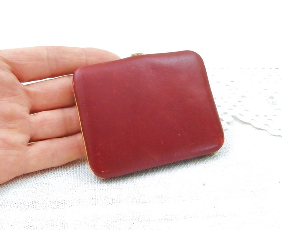 Vintage Rectangular Red Moroccan Leather Pocket Compact Mirror Case, Retro Cigarette Case, Business Card Carrier, 60s French Cosmetic