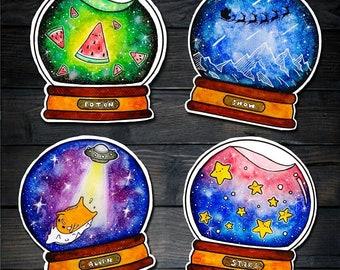 8 pcs Kawaii Galaxy Stickers