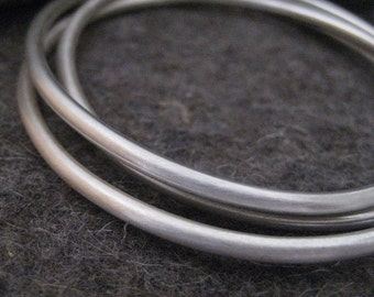 Sterling Silver Bangle Bracelets Three Interlocking Bangles