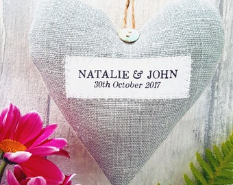Rustic Wedding Decor / Personalised wedding gift. Choice of fabric. Gift Boxed.