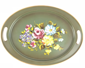 Hand Painted Oval Serving Tray by ET Nash and Co.