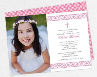 First Communion Invitation, First Holy Communion Invitation, Photo Communion Invitation, DIY Invite, PDF Invite, Girl Invite, Pink, Chris
