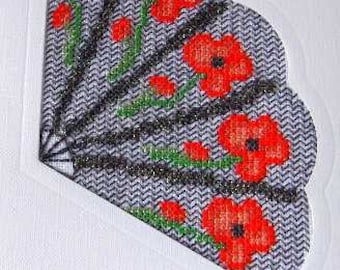 Poppies Counted Cross Stitch chart to make up into a fan card. Envelope also supplied.  Great gift card to make up and send or frame.