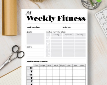 FITNESS Instant Download Printable Planner Weekly Fitness Page.  Fitness Agenda 2018 Inserts include A4, A5, Letter & Half Sizes   #537